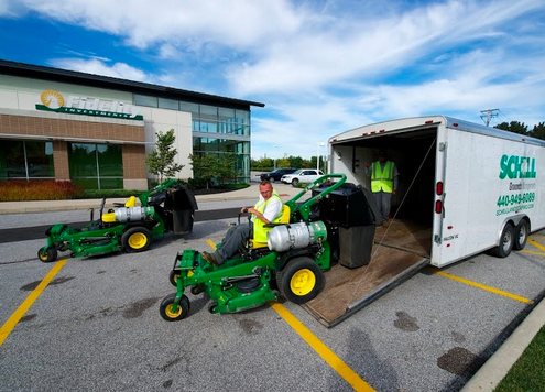 Schill's sustainable landscaping includes propane-powered mowers