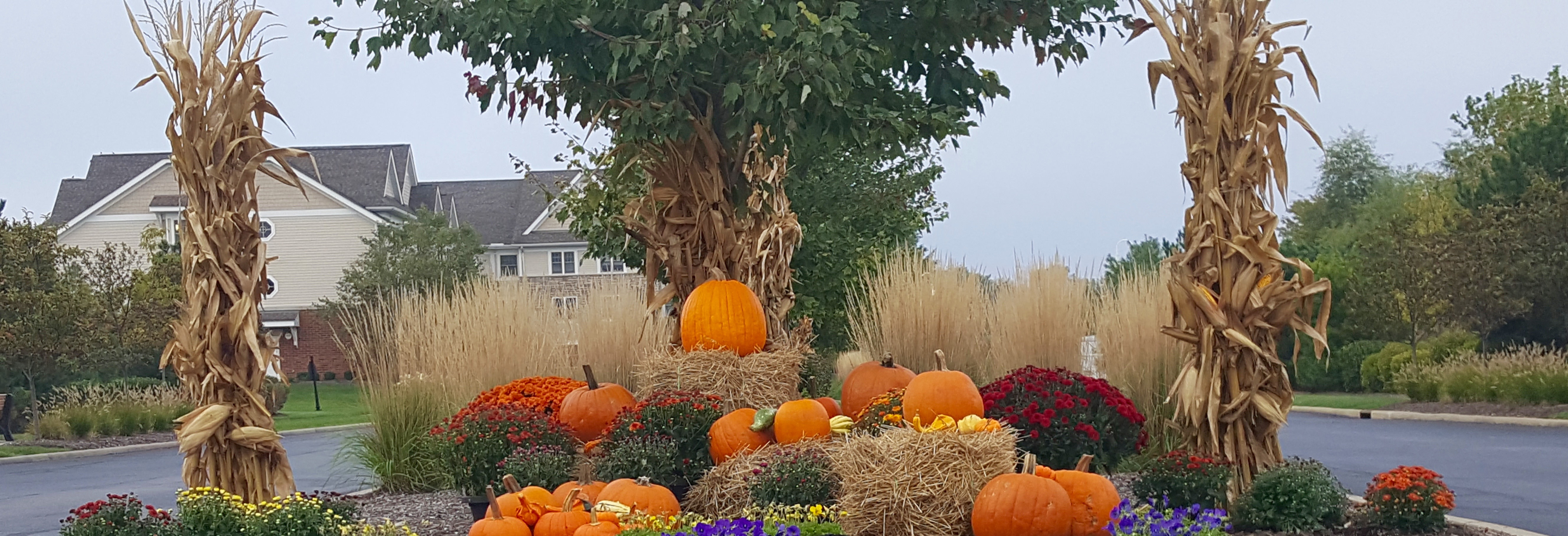 Beginning in the fall, Schill Grounds Management transforms St. Mary of the Woods into a harvest-themed environment.