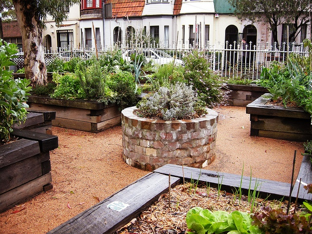 masonry stone raised garden bed
