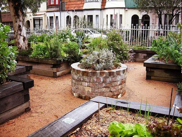 masonry stone raised garden bed