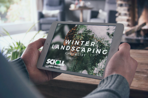Winter landscaping checklist on iPad screen